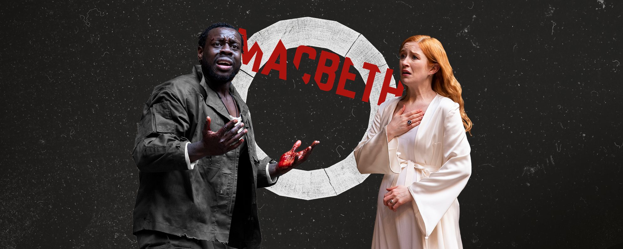 The title Macbeth is in between to actors depicting Macbeth and Lady Macbeth, they both look distressed