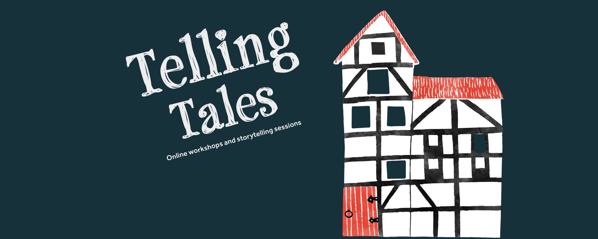 Text: Telling Tales, Online workshops and storytelling sessions with an illustration of the Globe