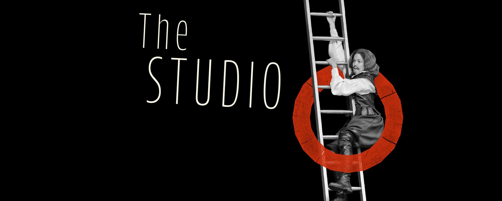 A cut-out image of an actor climbing a ladder