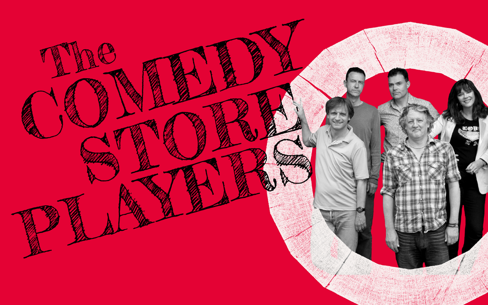 A black and white photo of five people facing the camera and the words 'The Comedy Store Players' sit on a bright pink background